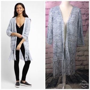NWOT Blank NYC crochet fringe light blue cardigan